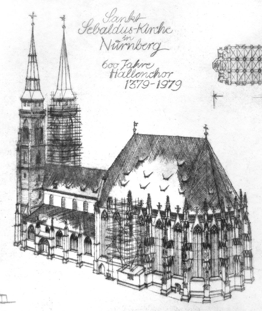 St. Sebaldus-Church in Nuremberg, 600 years hall choir, 1379 - 1979 Detail with St. Sebaldus-Church