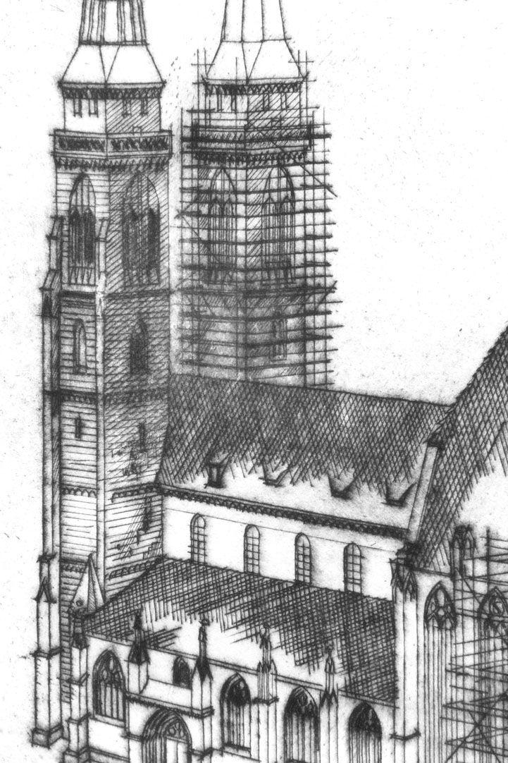 St. Sebaldus-Church in Nuremberg, 600 years hall choir, 1379 - 1979 Spires and nave of St. Sebaldus-Church