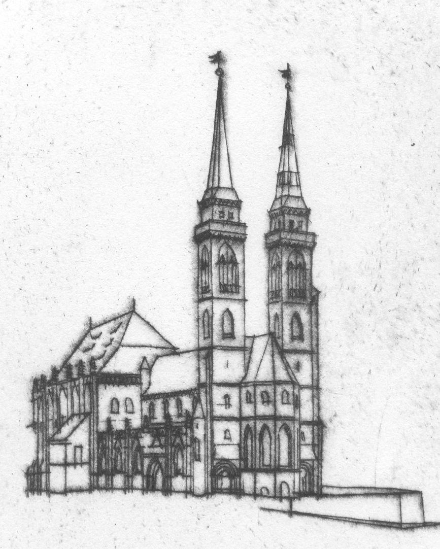 St. Sebaldus-Church in Nuremberg, 600 years hall choir, 1379 - 1979 View to St. Sebaldus-Church from the north west