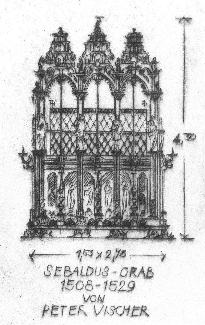 St. Sebaldus-Church in Nuremberg, 600 years hall choir, 1379 - 1979 Detail view with tomb of St. Sebald