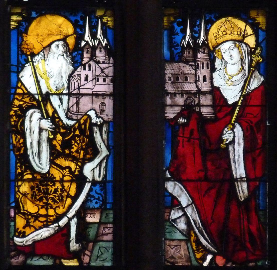 Bamberger Fenster dritte Fensterzeile von unten, zweite und dritte Fensterbahn von links, Kaiser Heinrich und Kaiserin Kunigunde