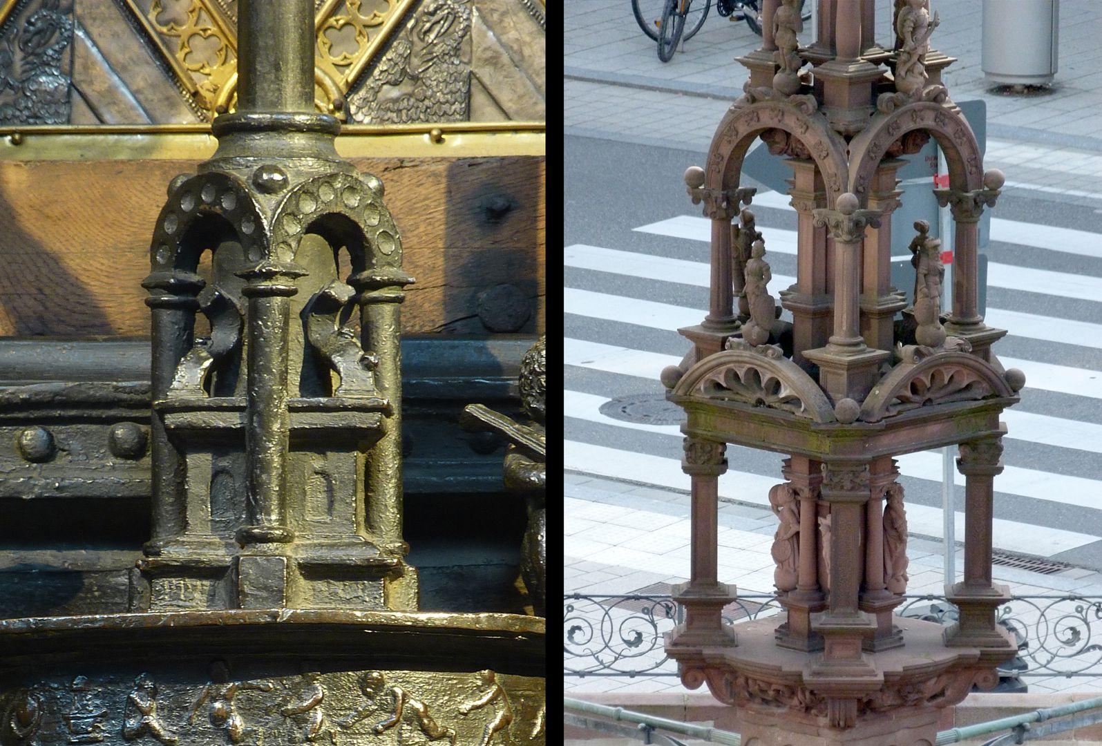 St. Sebaldus Tomb Die Komposition mancher Dienstbasis in Luftbögen am Sebaldusgrab (l.) findet sich um 1530 am Marktbrunnen in Rottweil wieder (r.)
