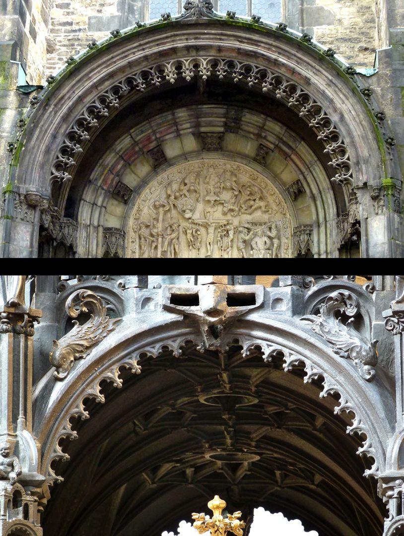 St. Sebaldus Tomb Die hängenden, gotischen Maßwerkfriese der Halbrundbögen im Sebaldusgrab (Foto unten) entstammen den Parlern (Teynkirche zu Prag 2.H. 14. Jh. Foto oben. Eine Zwischenstufe zeigt der Michaelschor der Nürnberger Frauenkirche).