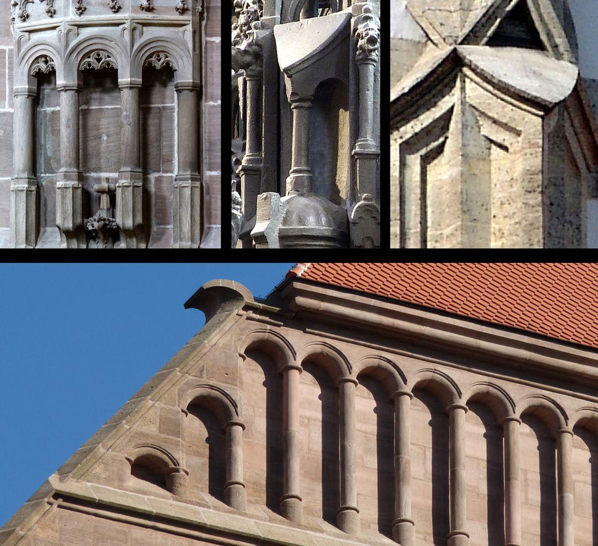 St. Sebaldus Tomb Rundsäulchen mit kleinen Rundbögen erscheinen gleichzeitig um 1517 am Sebaldusgrab (Foto M.) und an der Lorenzkirche (Foto unten). Der zungenförmige Wasserschlag (Foto M.) ist auch gotisch (Foto r.o.: Sankt Ulrich Augsburg um 1500).