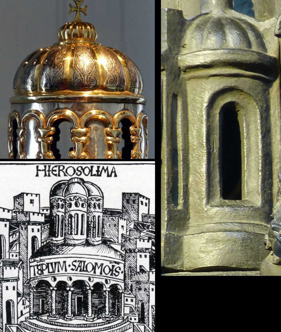 St. Sebaldus Tomb Byzantinisch sind die Faltkuppeln: o.l. Anastasiusreliquiar aus Antiochien, 10. od. 11. Jh., Aachen Domschatz, rechts Sebaldusgrab. Faltkuppeln waren in Nürnberg von der Weltchronik 1493 bekannt. (links unten)