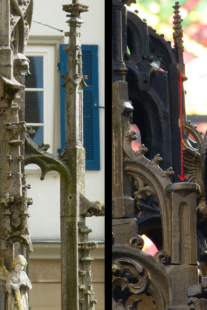St. Sebaldus Tomb Die Darstellung von Strebewerk (Strebepfeiler u.S-förmige Strebebögen mit Krabbenwerk) entstammt der Gotik (l.Rottenburg/N. Marktbrunnen 1470), r.Sebaldusgrab: der rote Pfeil zeigt die Stelle der trotz vorhandenem Verbindungsloch nicht ausgeführten Fialen