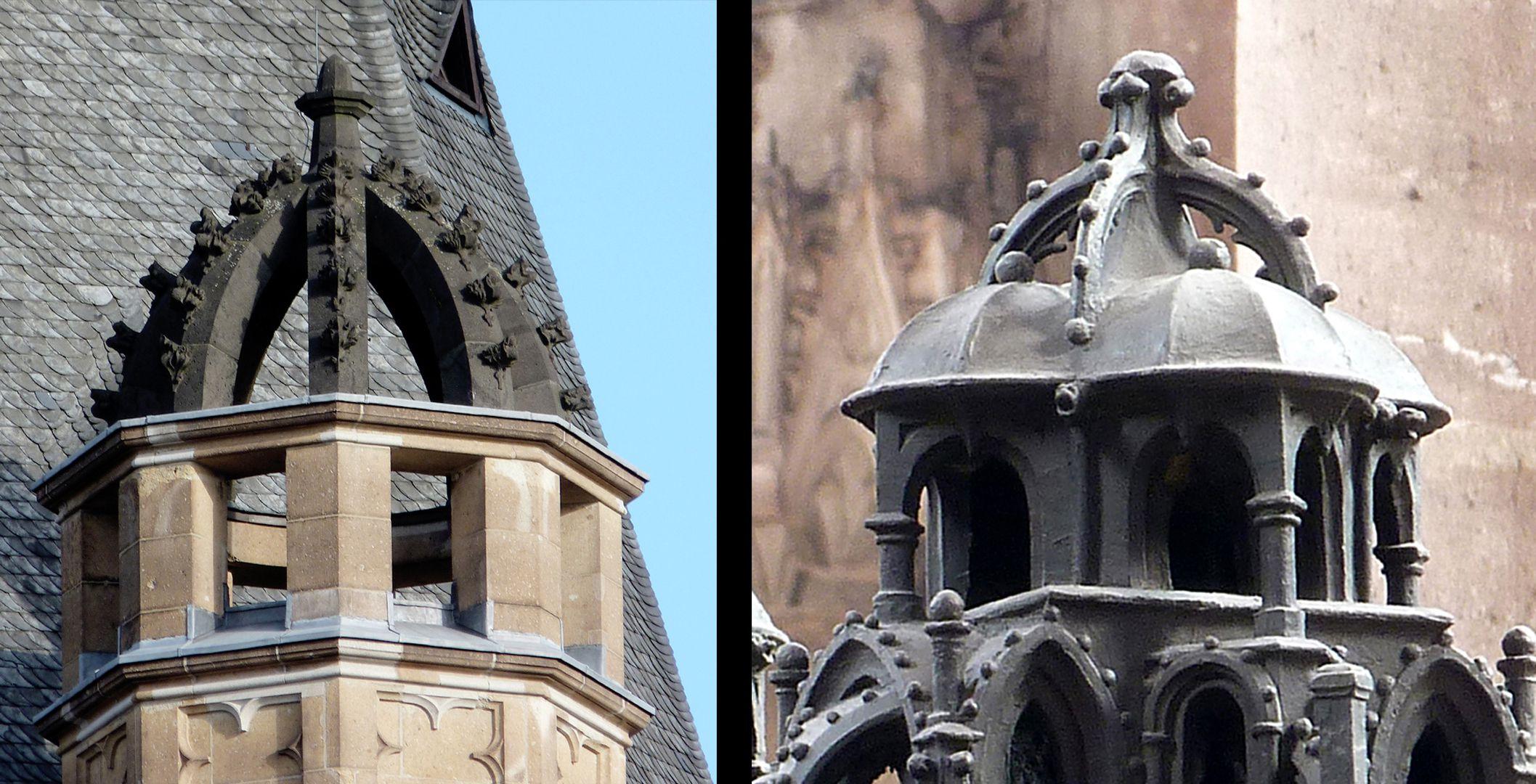 St. Sebaldus Tomb Gotisch sind die Bügelkronen mit Krabbenwerk bzw. Kugeln: links Köln, Rathaus 1407-14, rechts Sebaldusgrab.