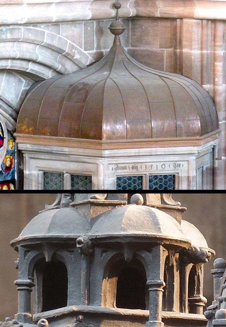 St. Sebaldus Tomb Real gebaute welsche Hauben gab es in Sankt Lorenz (Treppe zur oberen Sakristei, Foto oben) gleichzeitig mit den dargestellten Hauben des Sebaldusgrabs (Foto unten).