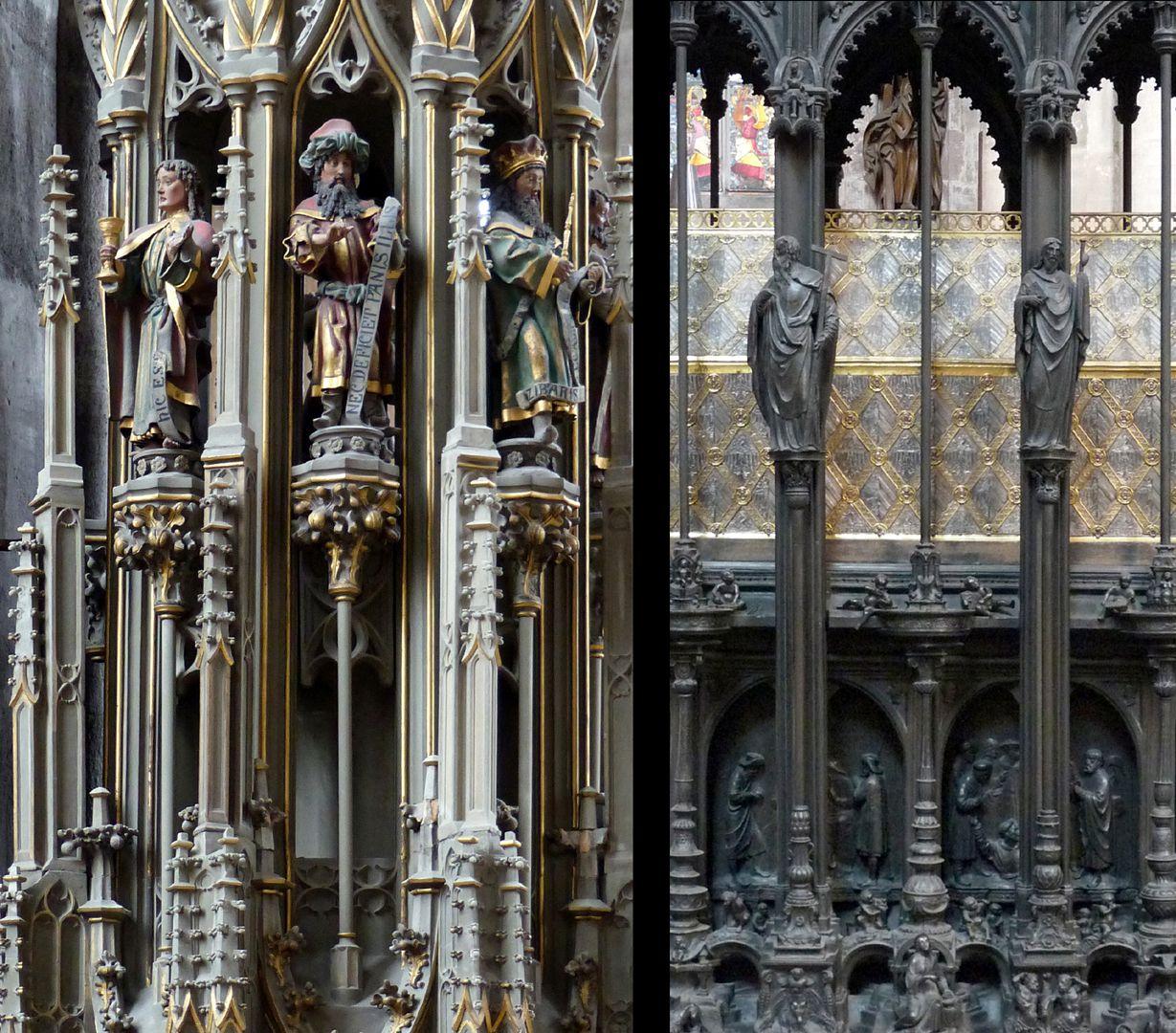 St. Sebaldus Tomb Die Vertikalgliederung des Sebaldusgrabs (Foto rechts) ist als solche gotisch und vergleichbar mit vielen früheren Beispielen wie das Sakramentshaus von Sankt Georg in Dinkelsbühl von 1480, (Foto links).