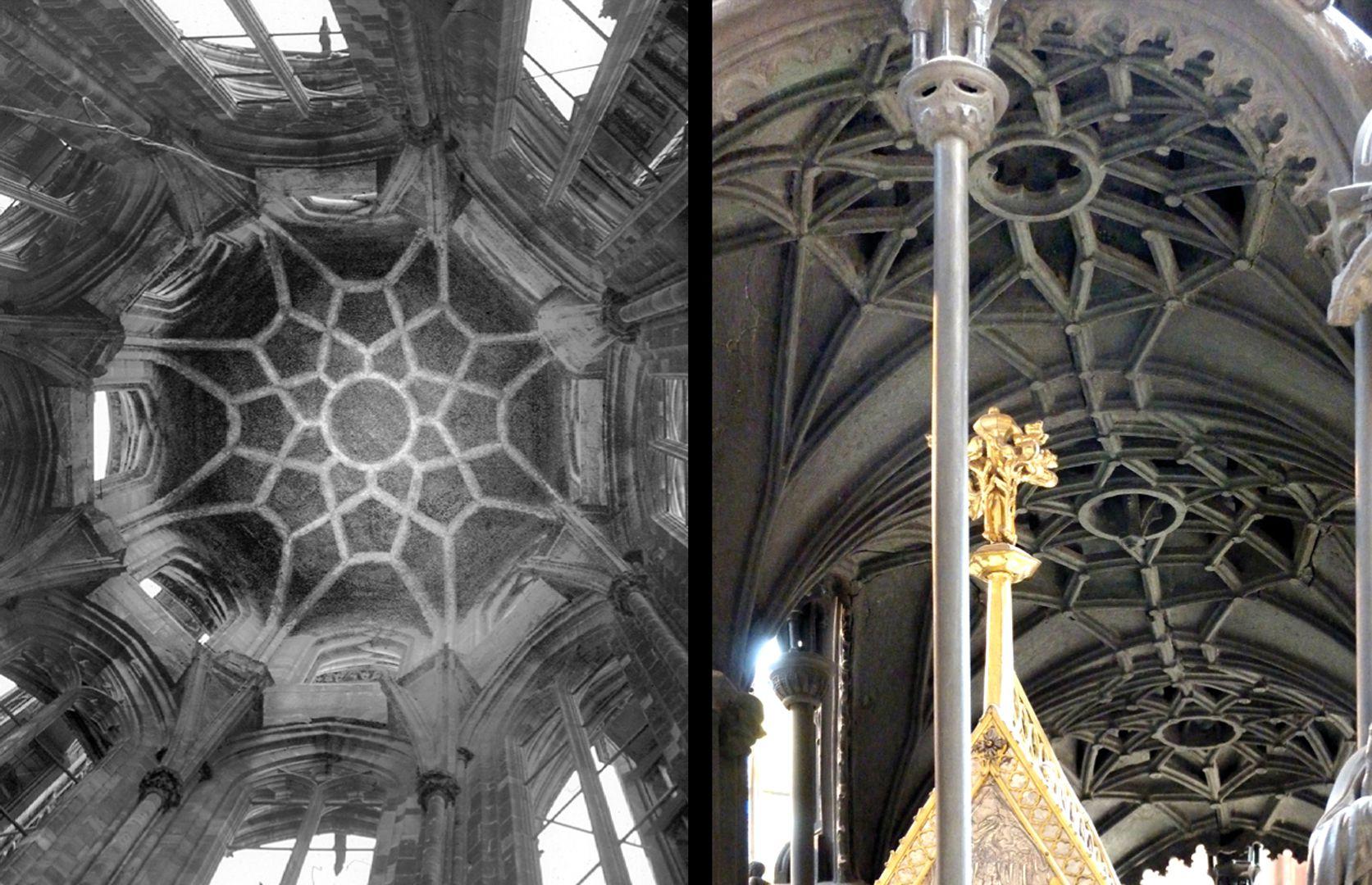 St. Sebaldus Tomb Die gotischen Luftrippen vom Sebaldusgrab (Foto rechts) gehen letztlich auf die Luftrippen des Ulrich von Ensingen von 1419 im Nordturm des Straßburger Münsters (Foto links) zurück.