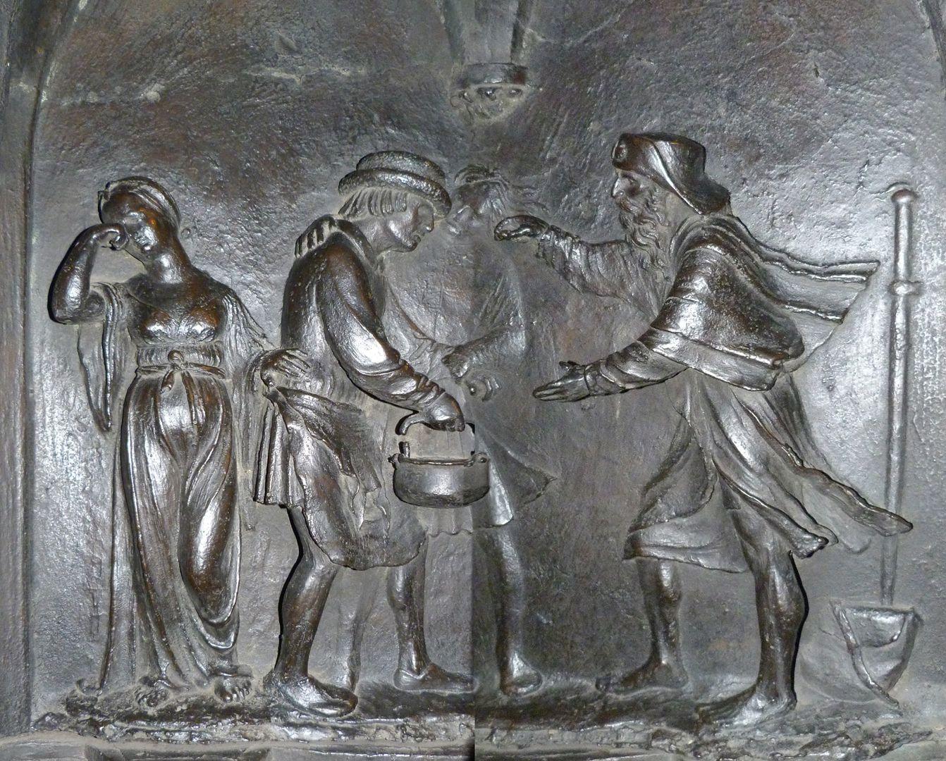 Sebaldusgrab (Nordseite) Sebalduslegende, Relief mit der Heilung des Blinden (zwei zusammengesetzte Fotos)