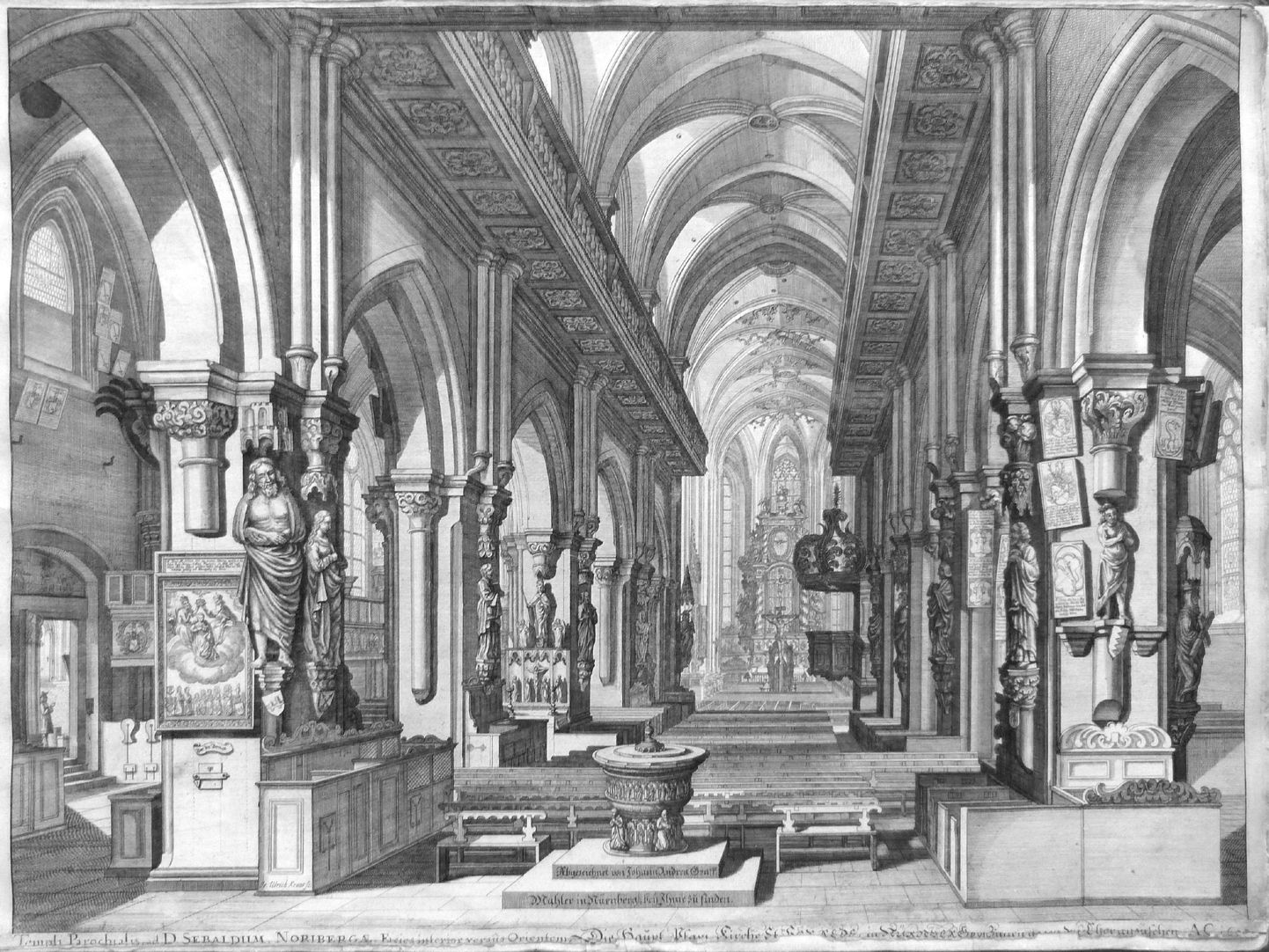"""Urbis Norimbergensis Insigniorum Templorum…"" St. Sebald-Church Interior, view to the east with the Baroque galleries"