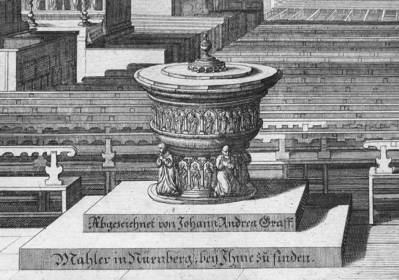 """Urbis Norimbergensis Insigniorum Templorum…"" St. Sebald-Church Baptismal font"