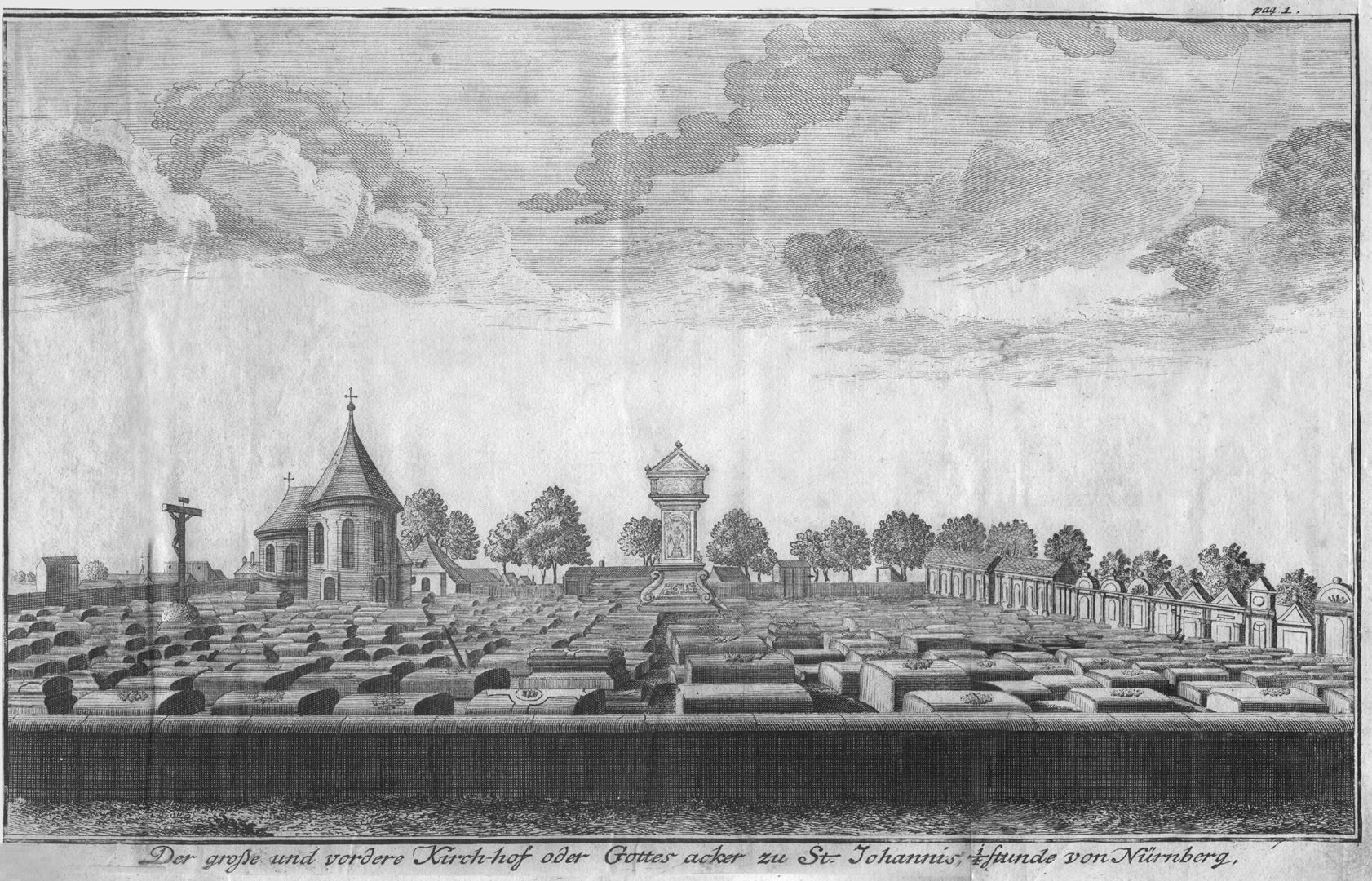 The great and anterior graveyard or churchyard of St. Johannis, a quarter of an hour from Nuremberg General view