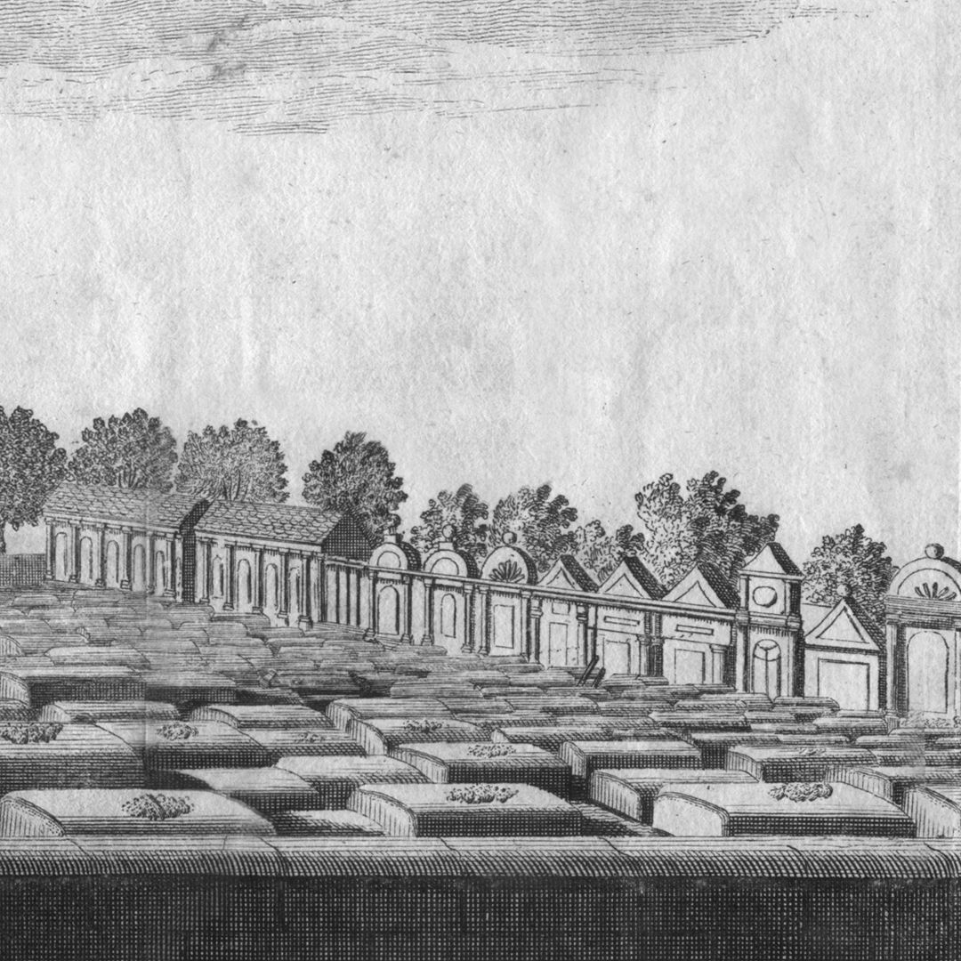 The great and anterior graveyard or churchyard of St. Johannis, a quarter of an hour from Nuremberg Boundary wall of the cemetery