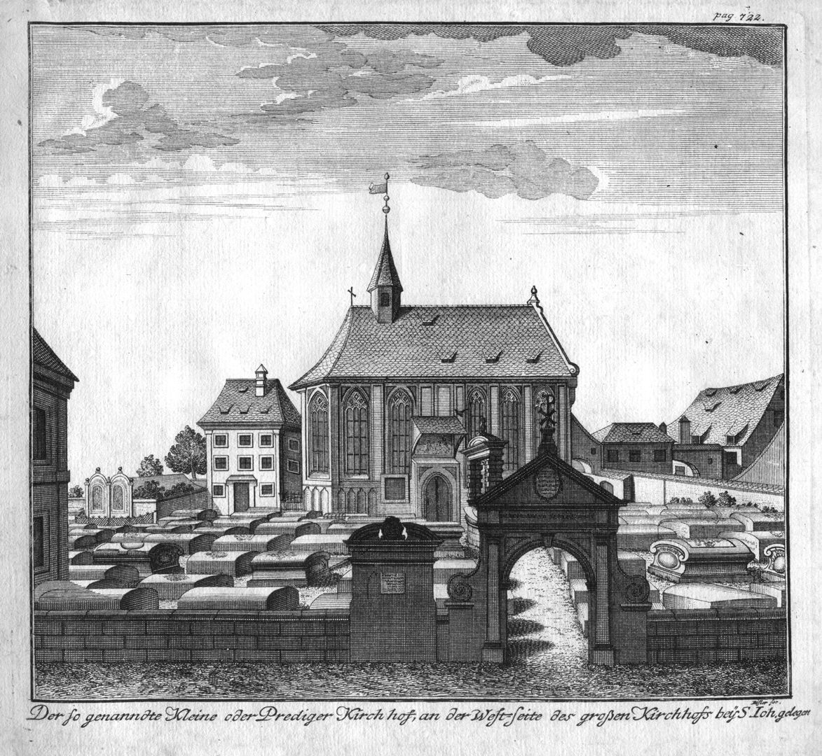 """""""The so-called little or preachers´ churchyard…"""" View from the north with Steinschreiberhaus (left edge of the picture), vicarage (demolished after 1855) and Johannis-Church"""