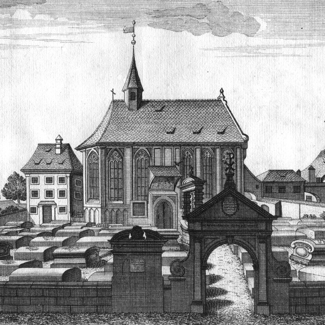 """""""The so-called little or preachers´ churchyard…"""" Old vicarage, Johannis-Church and north portal of the cemetery"""