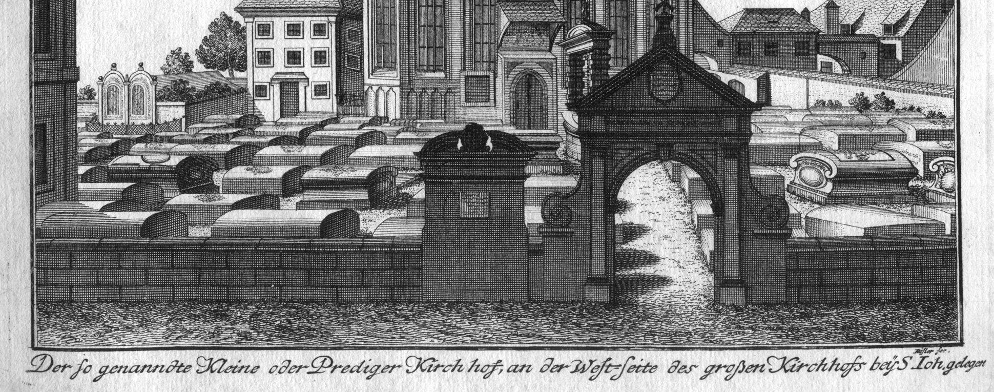 """""""The so-called little or preachers´ churchyard…"""" Lower edge of the picture with caption and signature"""