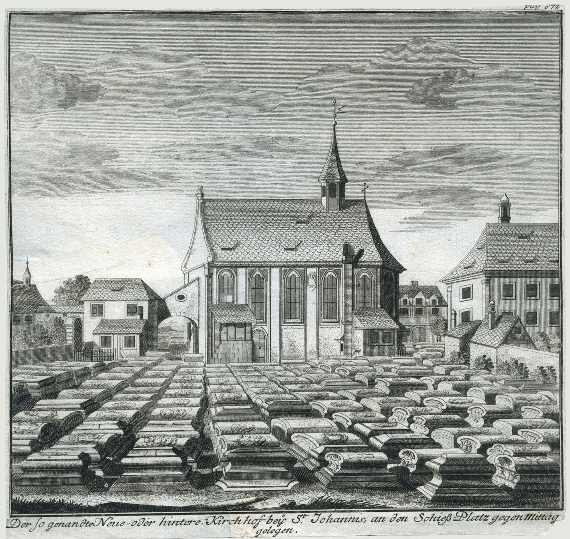 """The so-called new or back churchyard of St. Johannis…"" General view with burial ground, Johannis-Church and the vicarage which was demolished after 1855"
