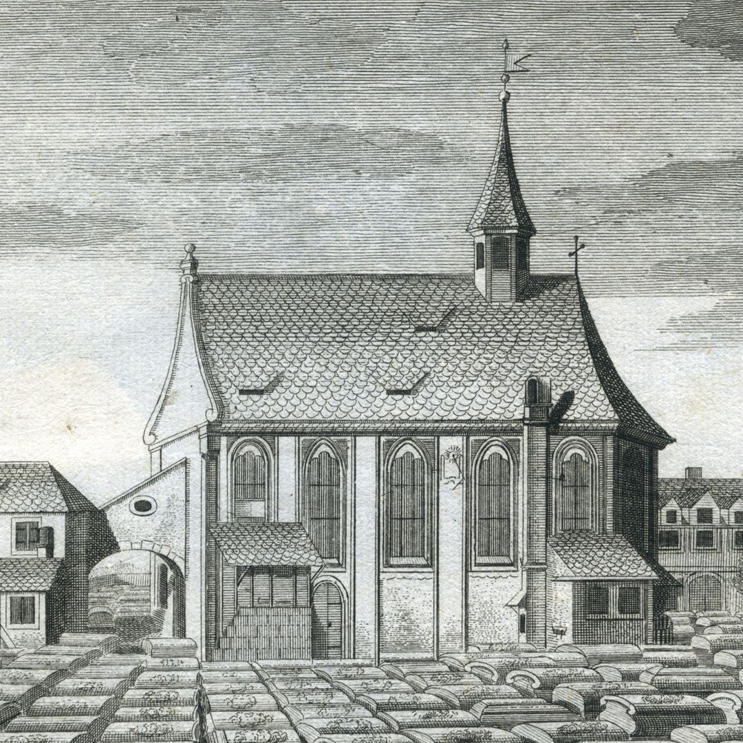 """The so-called new or back churchyard of St. Johannis…"" Johannis-Church from the south"
