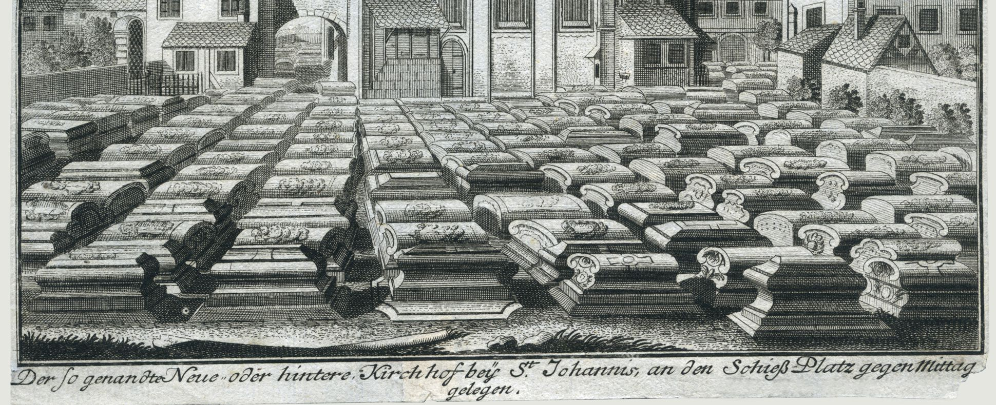 """The so-called new or back churchyard of St. Johannis…"" Burial ground and image caption"