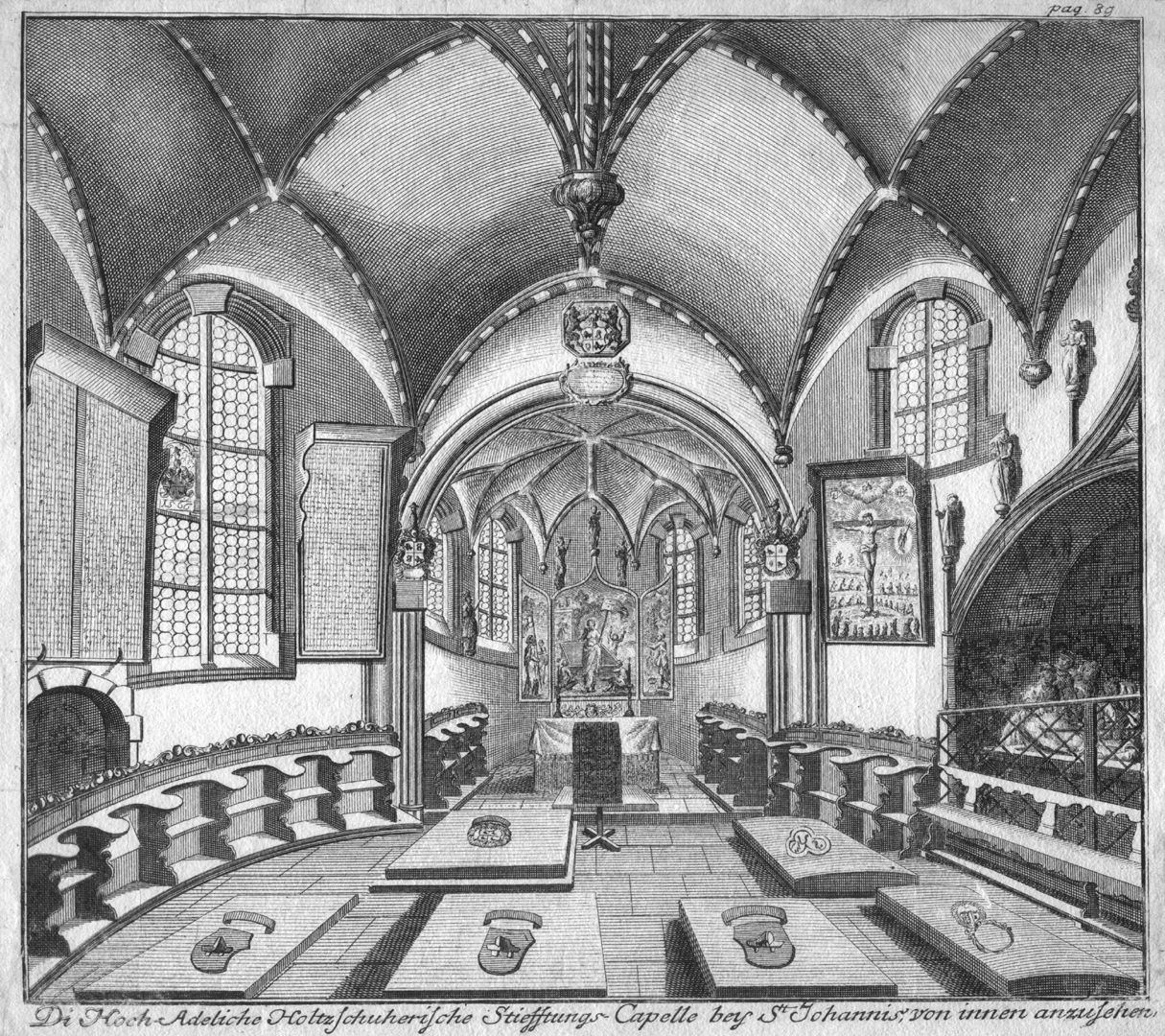"""The Holzschuher Collegiate Chapel of the Higher nobility…"" Interior towards the east"