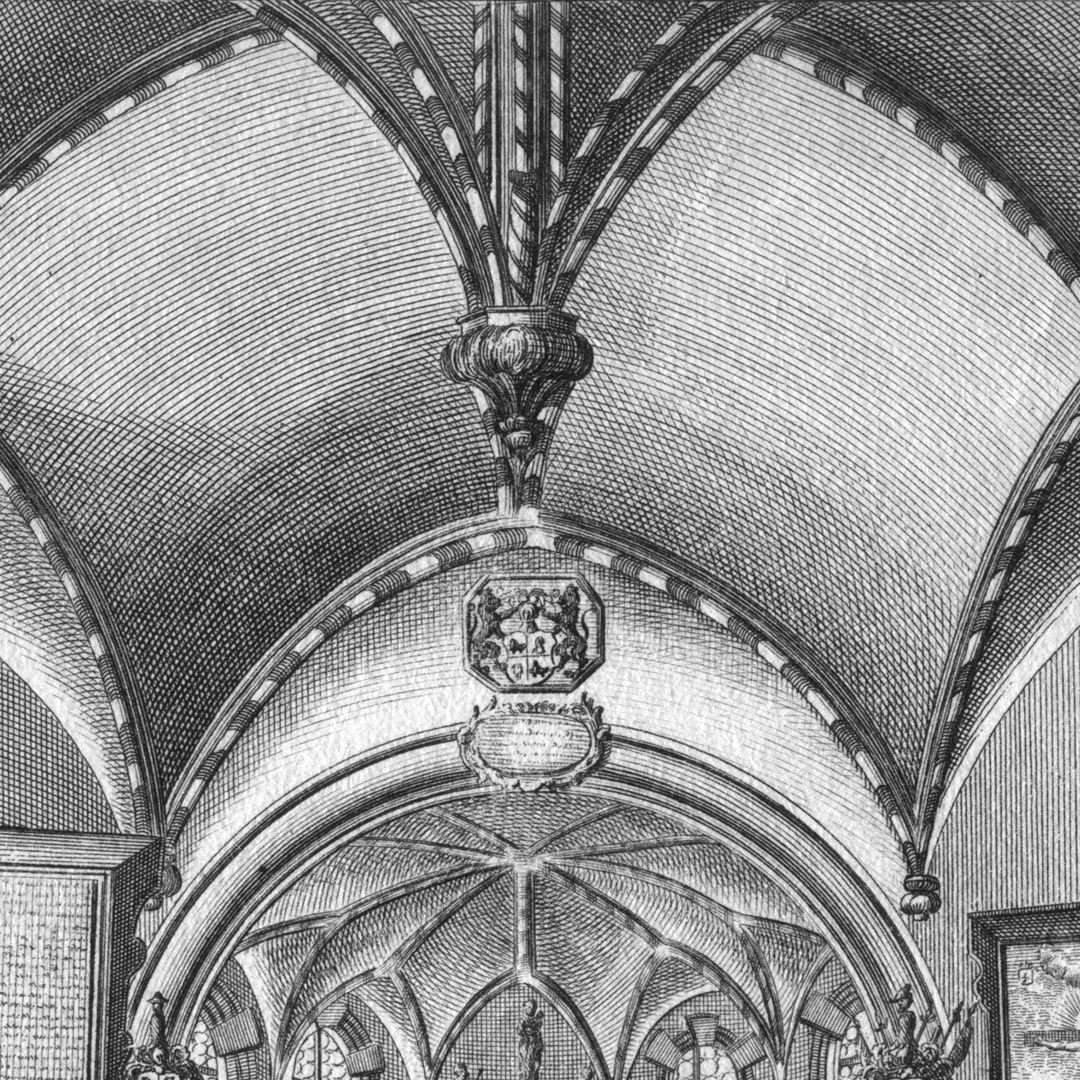 """The Holzschuher Collegiate Chapel of the Higher nobility…"" Vault detail with hanging keystone, note the incorrect depiction of the actual ribs"