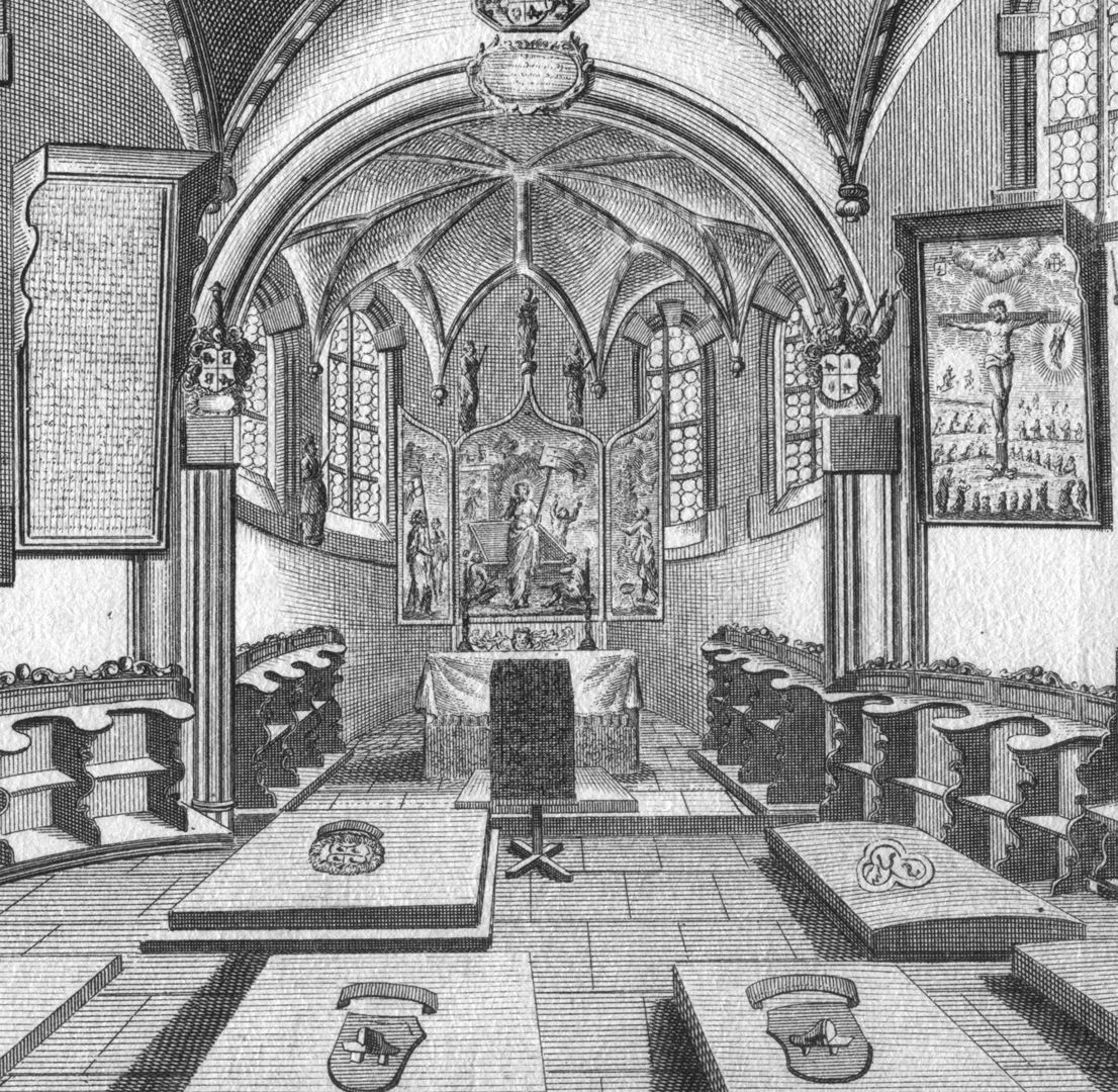 """The Holzschuher Collegiate Chapel of the Higher nobility…"" Detail with tombs and choir"