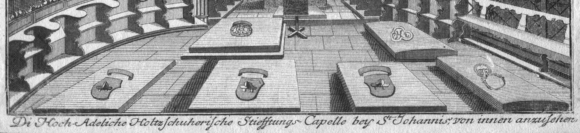 """The Holzschuher Collegiate Chapel of the Higher nobility…"" Chapel floor and image caption"