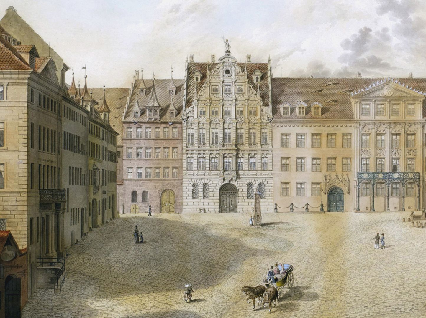 Egidienplatz Schwarzes Pellerhaus oben links, Pellerhaus oben Mitte, das von Karl Alexander Heideloff 1828 umgestaltete ehemalige Imhoffsche Anwesen oben rechts