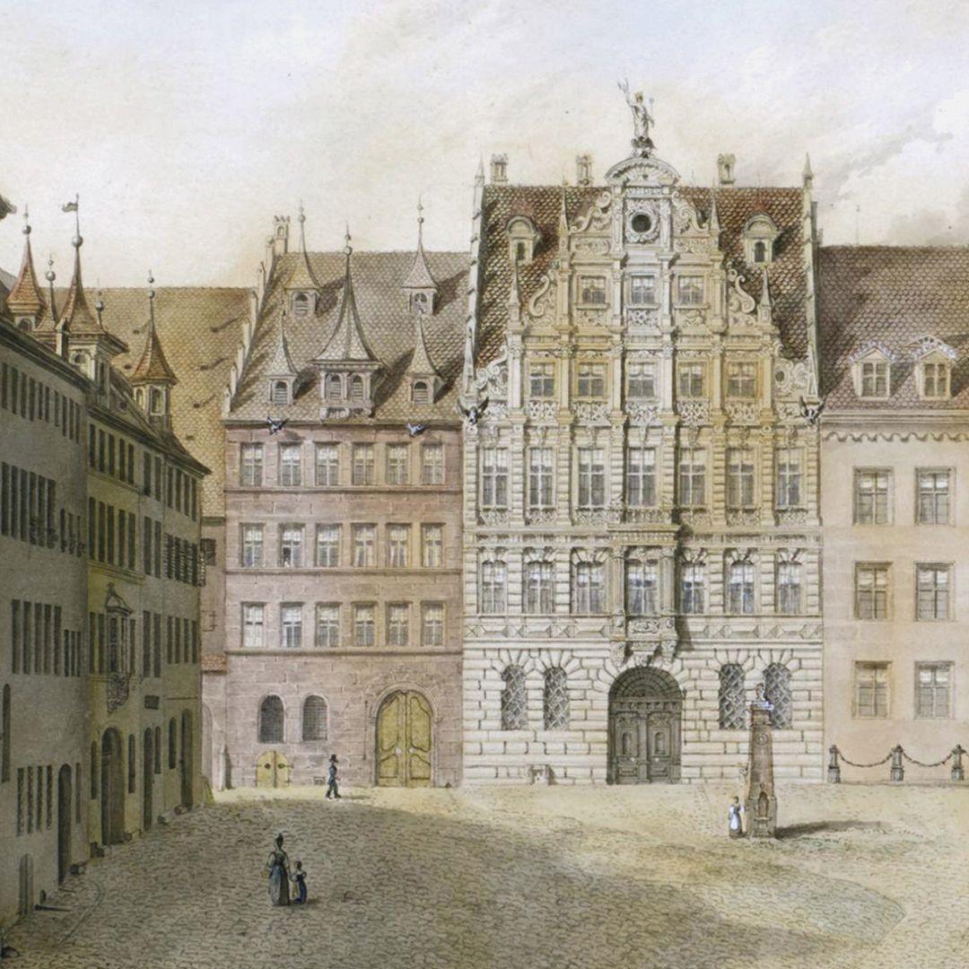 Egidienplatz links: Schwarzes Pellerhaus / Mitte: Pellerhaus