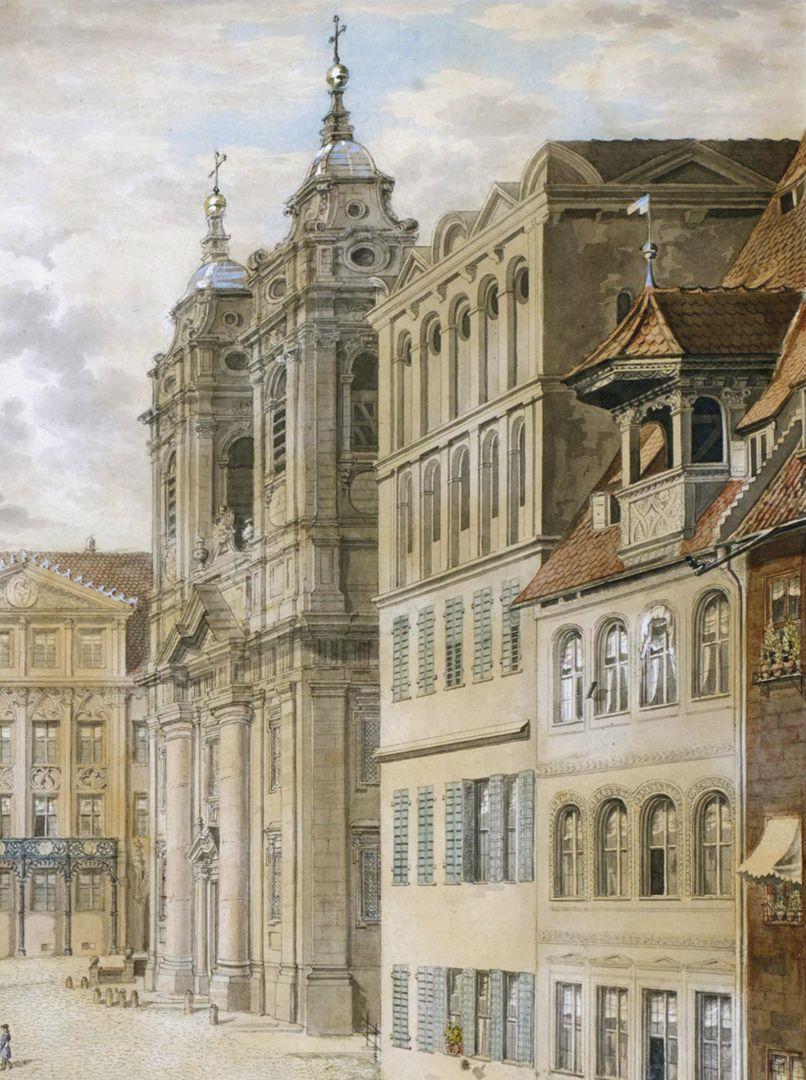 Egidienplatz östliche Platzseite mit Egidienkirche
