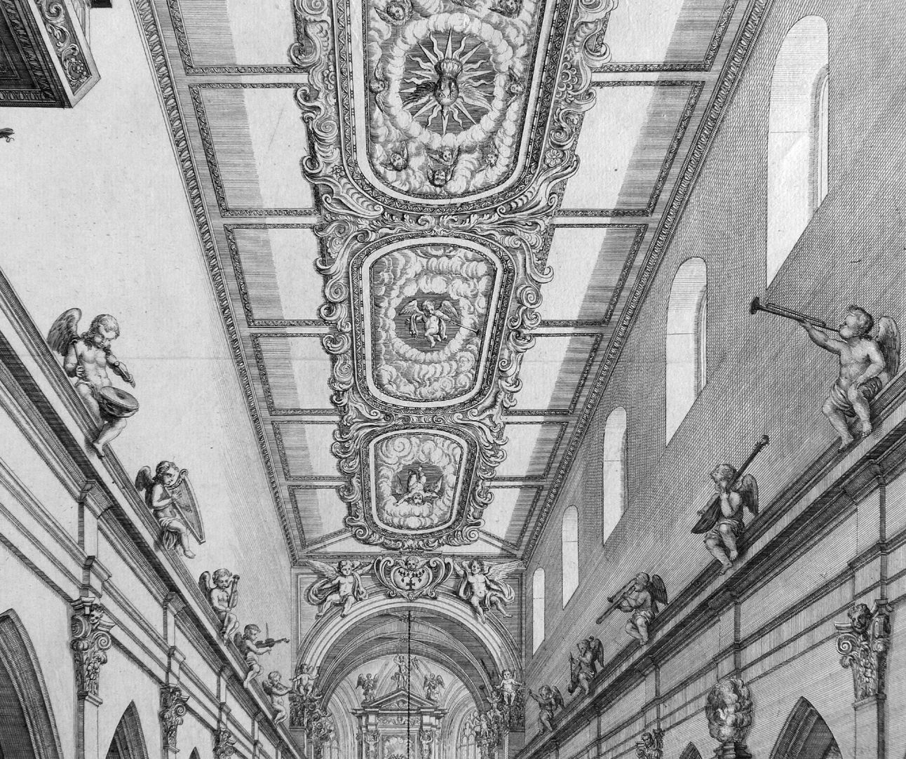 """Urbis Norimbergensis Insigniorum Templorum…"" Hospital-Church (Spitalkirche) Baroque ceiling in the nave"