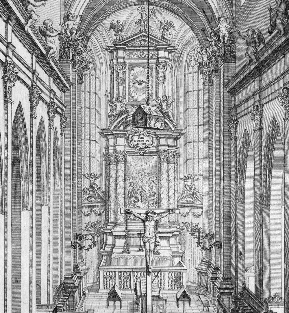 """""""Urbis Norimbergensis Insigniorum Templorum…"""" Hospital-Church (Spitalkirche) View of the sanctuary with the shrine for the Imperial Insignia hanging down from the ceiling"""
