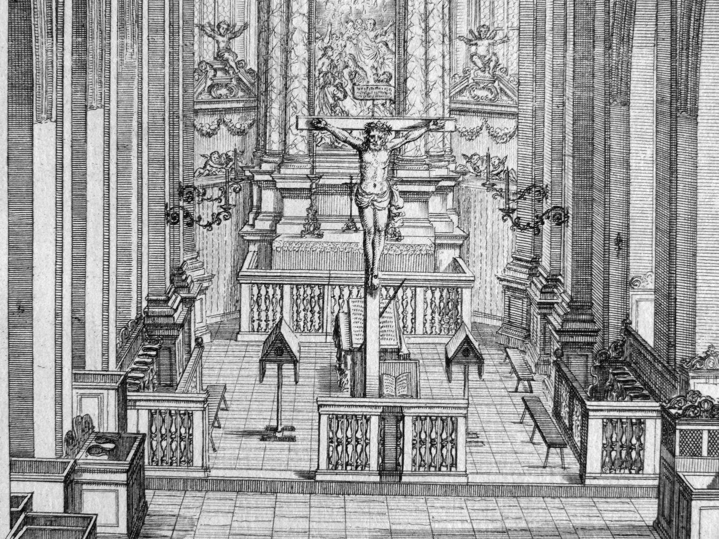 """Urbis Norimbergensis Insigniorum Templorum…"" Hospital-Church (Spitalkirche) View of the sanctuary"