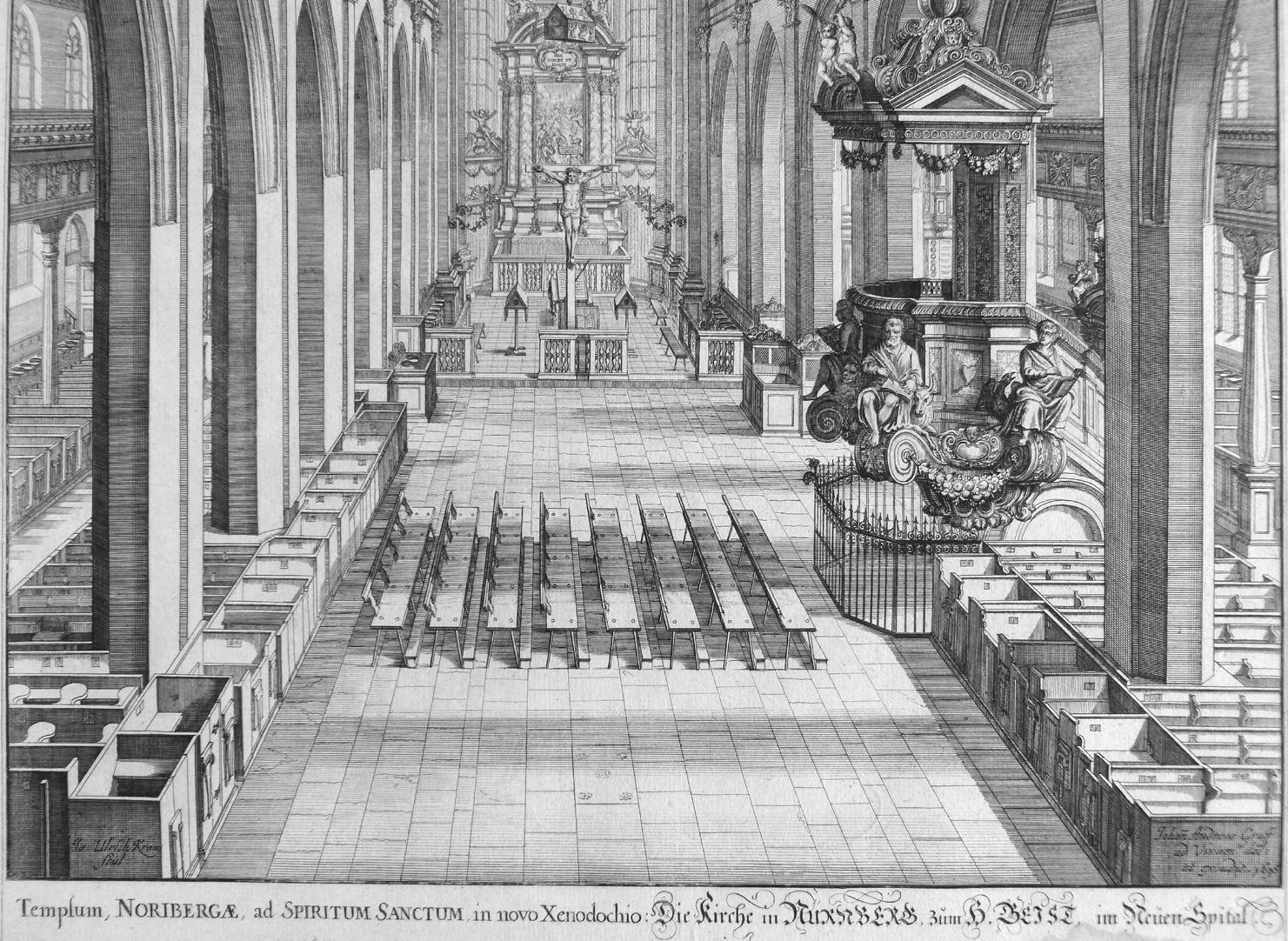 """Urbis Norimbergensis Insigniorum Templorum…"" Hospital-Church (Spitalkirche) View of the nave"