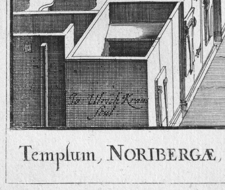 """Urbis Norimbergensis Insigniorum Templorum…"" Hospital-Church (Spitalkirche) Left lower corner of the picture, scul(psit): ""He has engraved it"""