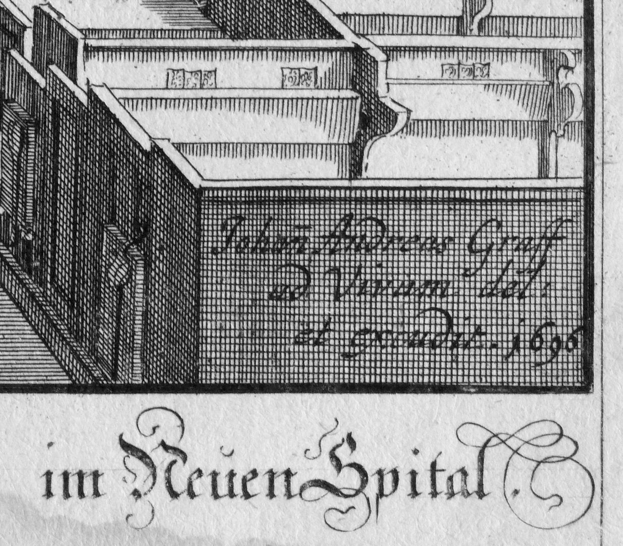 """Urbis Norimbergensis Insigniorum Templorum…"" Hospital-Church (Spitalkirche) Right lower corner of the picture, excudit: ""He has made it"""