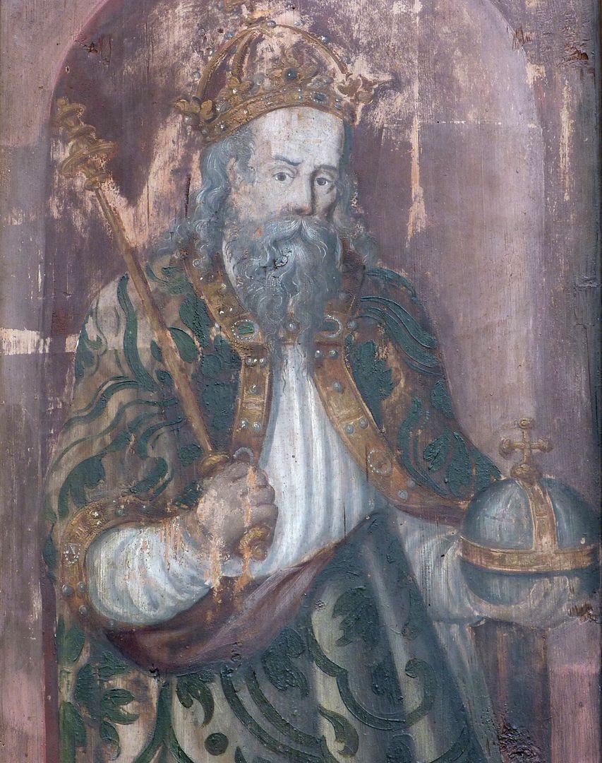 Zwei Altarflügel Kaiser (Karl der Große ?) mit Zepter und Reichsapfel