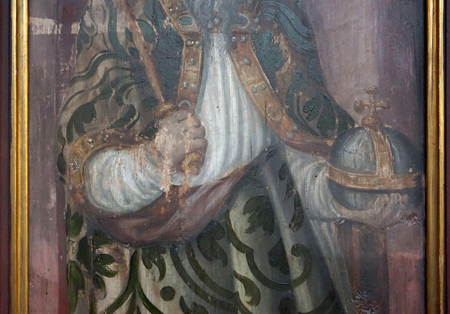 Zwei Altarflügel Kaiserdarstellung, Detail mit Zepter und Reichsapfel