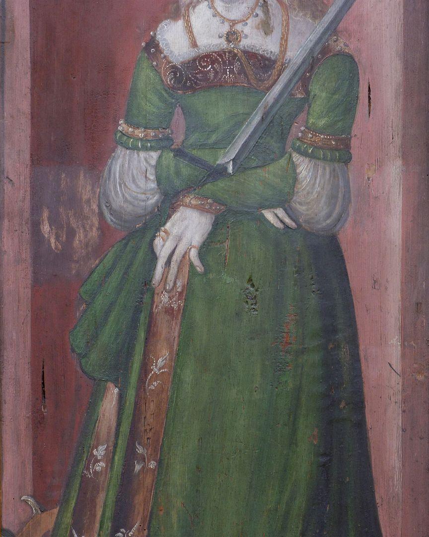 Zwei Altarflügel Hl. Katharina, Detailansicht mit Gewand und Schwert