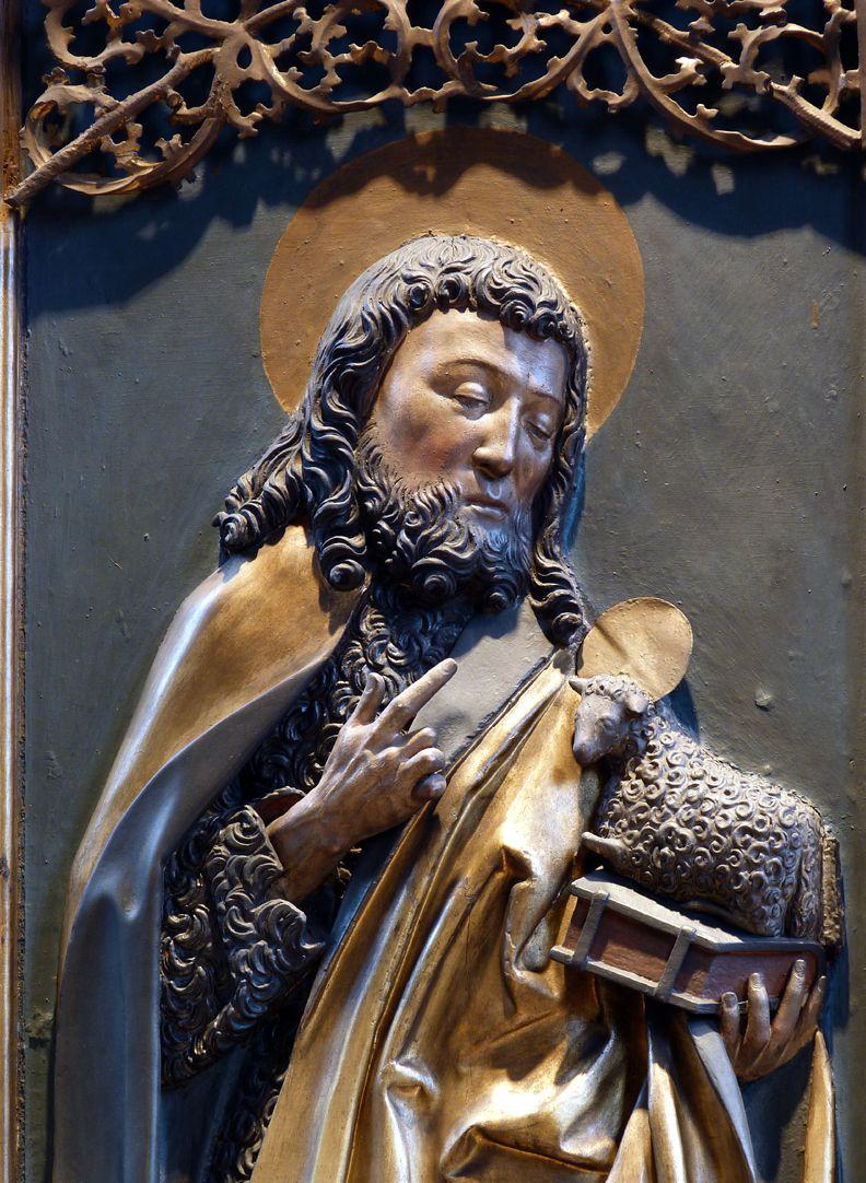 St. Bartholomäus, Hochaltar Linke Flügelinnenseite, Johannes d.T. mit dem Lamm