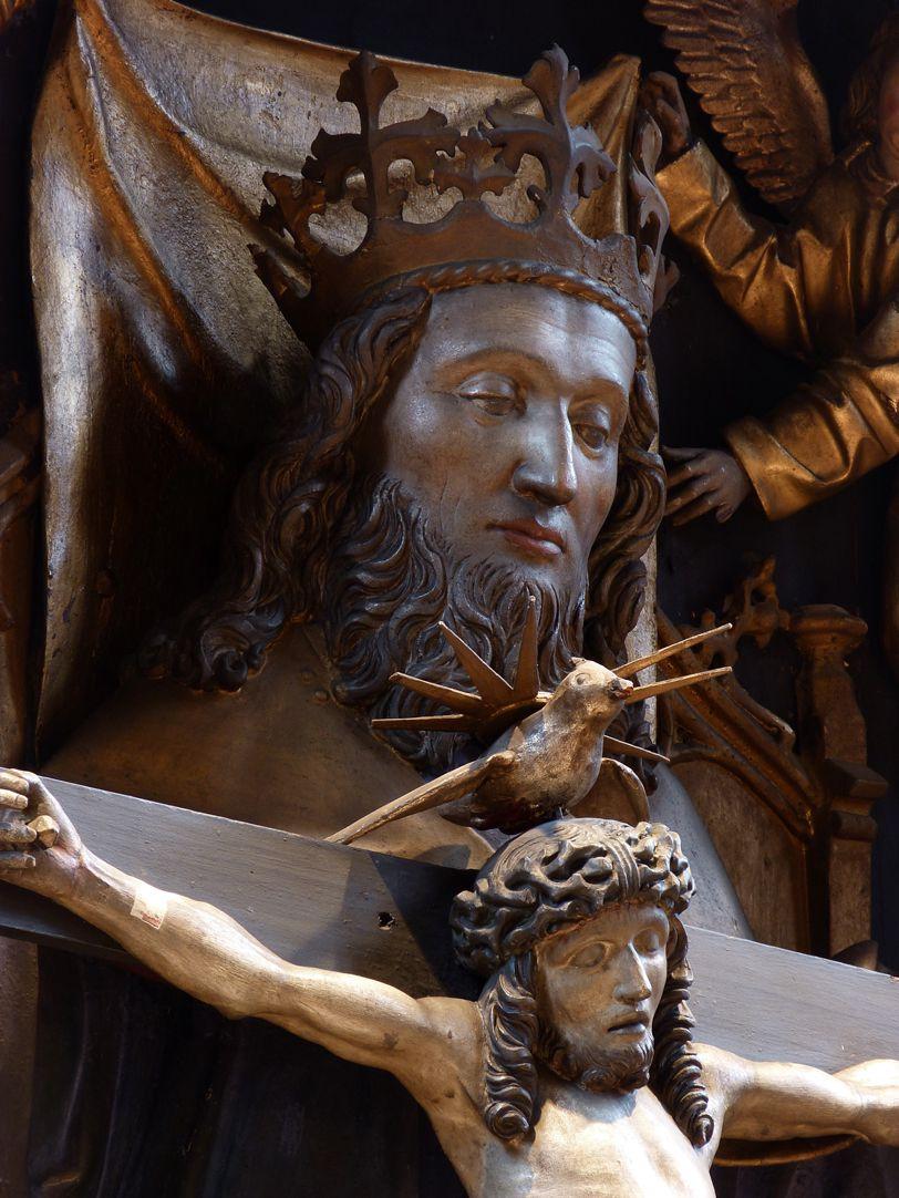 St. Bartholomäus, Hochaltar Mittelschrein, Gott Vater, Heiliger Geist und Christus