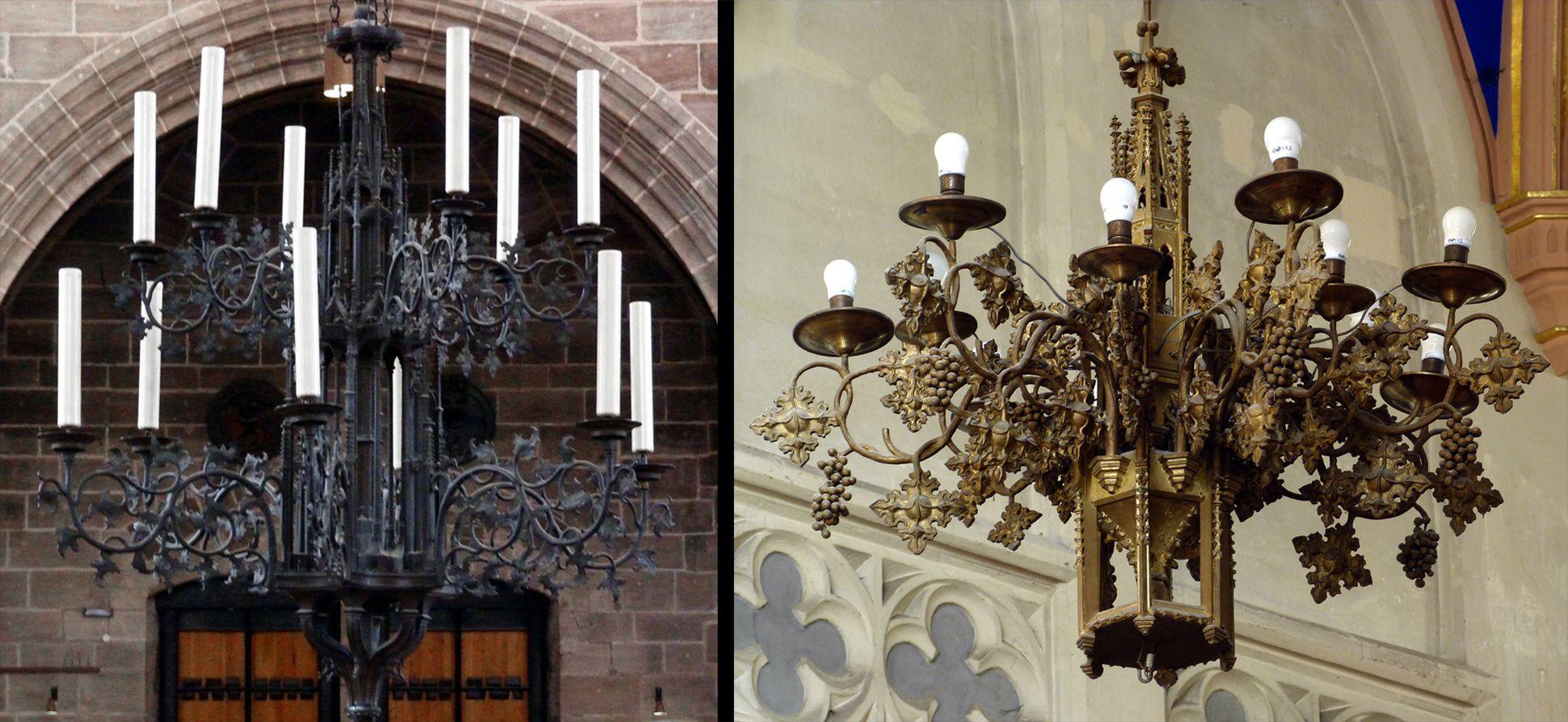 Parish Church St. Peter´s (Sonneberg) Comparison: Chandelier by Peter Vischer in St. Lorenz in Nuremberg and chandelier in Sonneberg