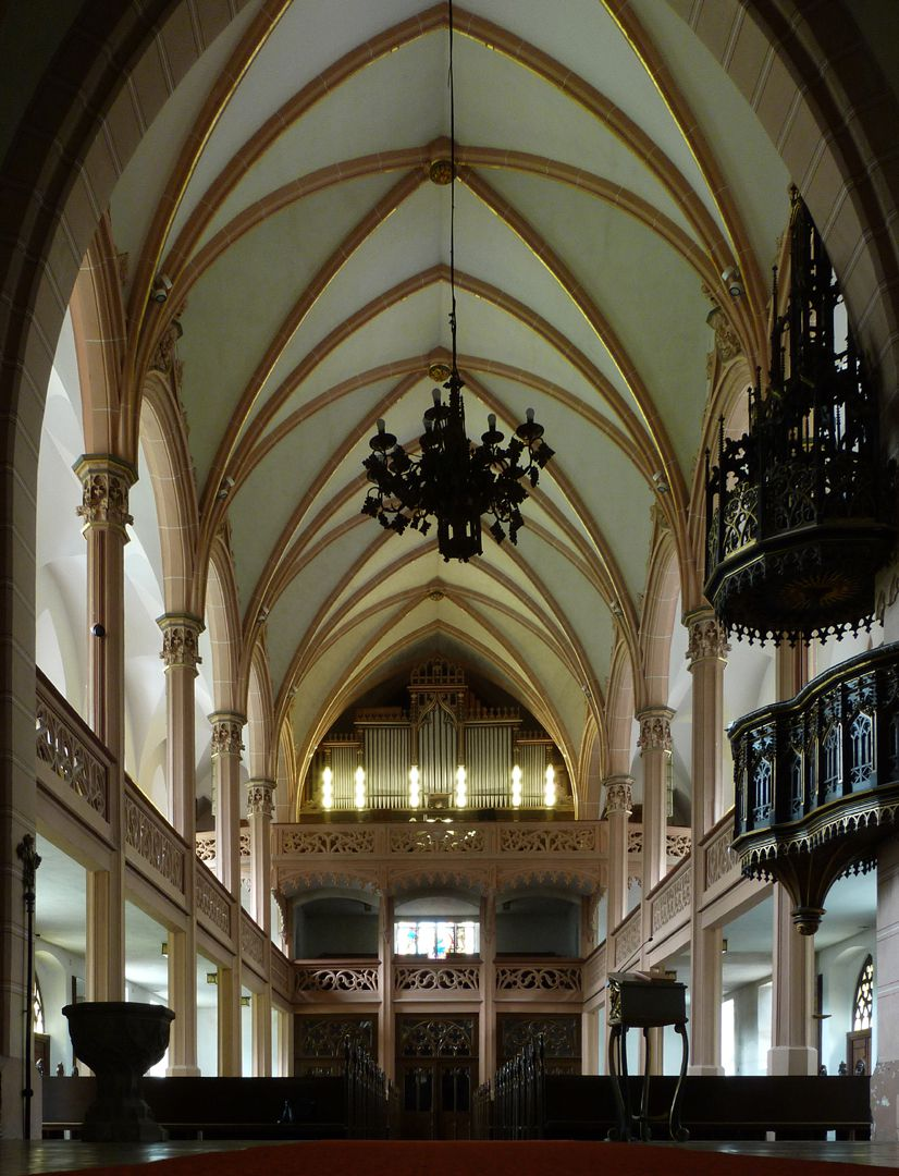Parish Church St. Peter´s (Sonneberg) Central nave, view to the organ