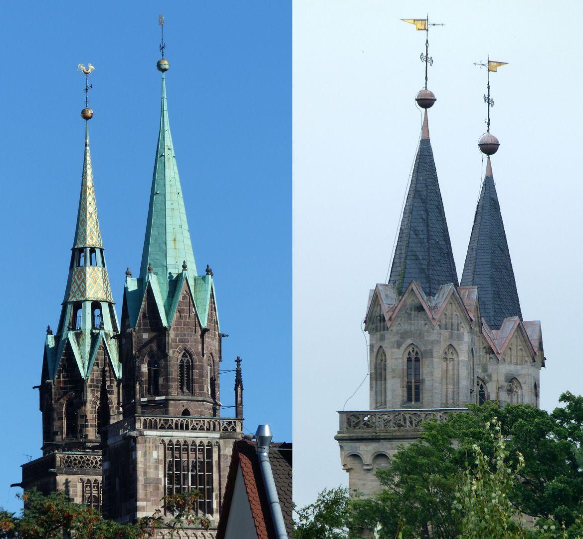 Parish Church St. Peter´s (Sonneberg) Comparison: eight-cornered spires, St. Lorenz-Church in Nuremberg and St. Peter´s in Sonneberg