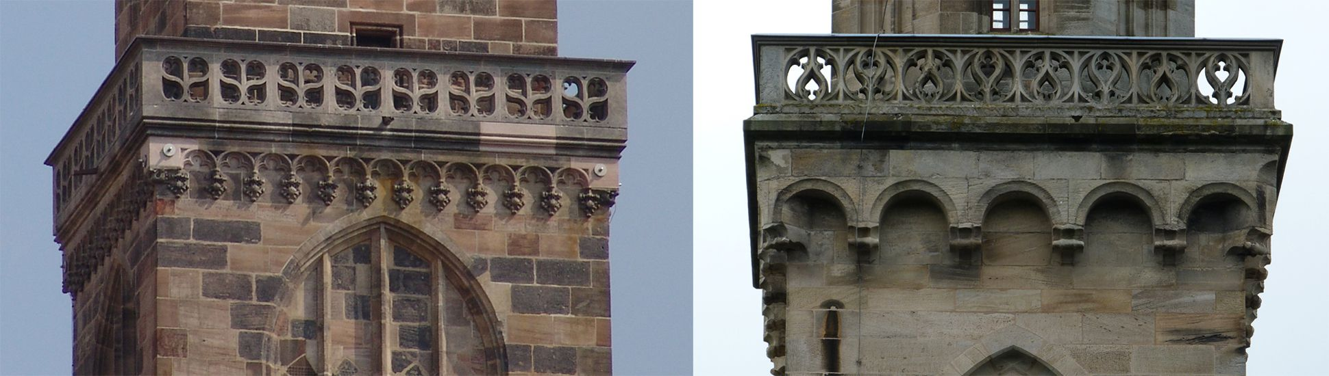 Parish Church St. Peter´s (Sonneberg) Comparison: tracery galleries on the spires of St. Sebald´s in Nuremberg and St. Peter´s in Sonneberg