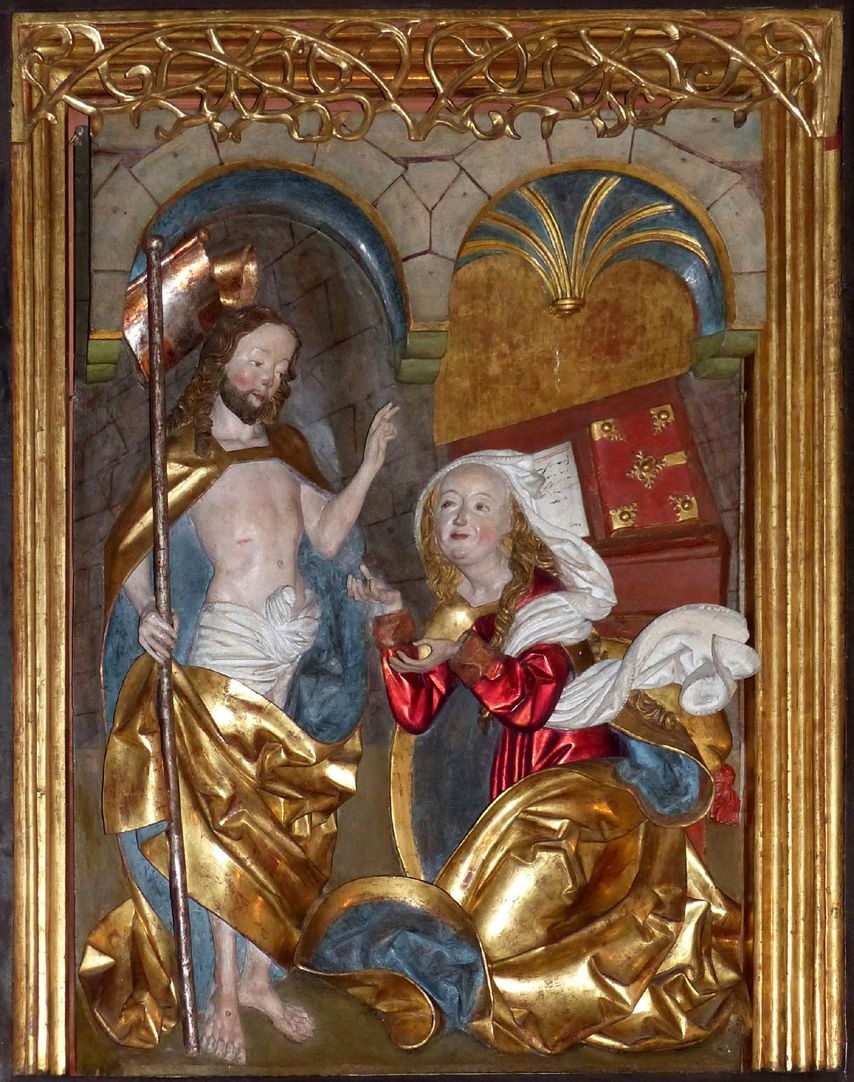 Altar of Mary (Salzburg) Wight wing: bottom: the resurrected Christ (Noli me tangere)