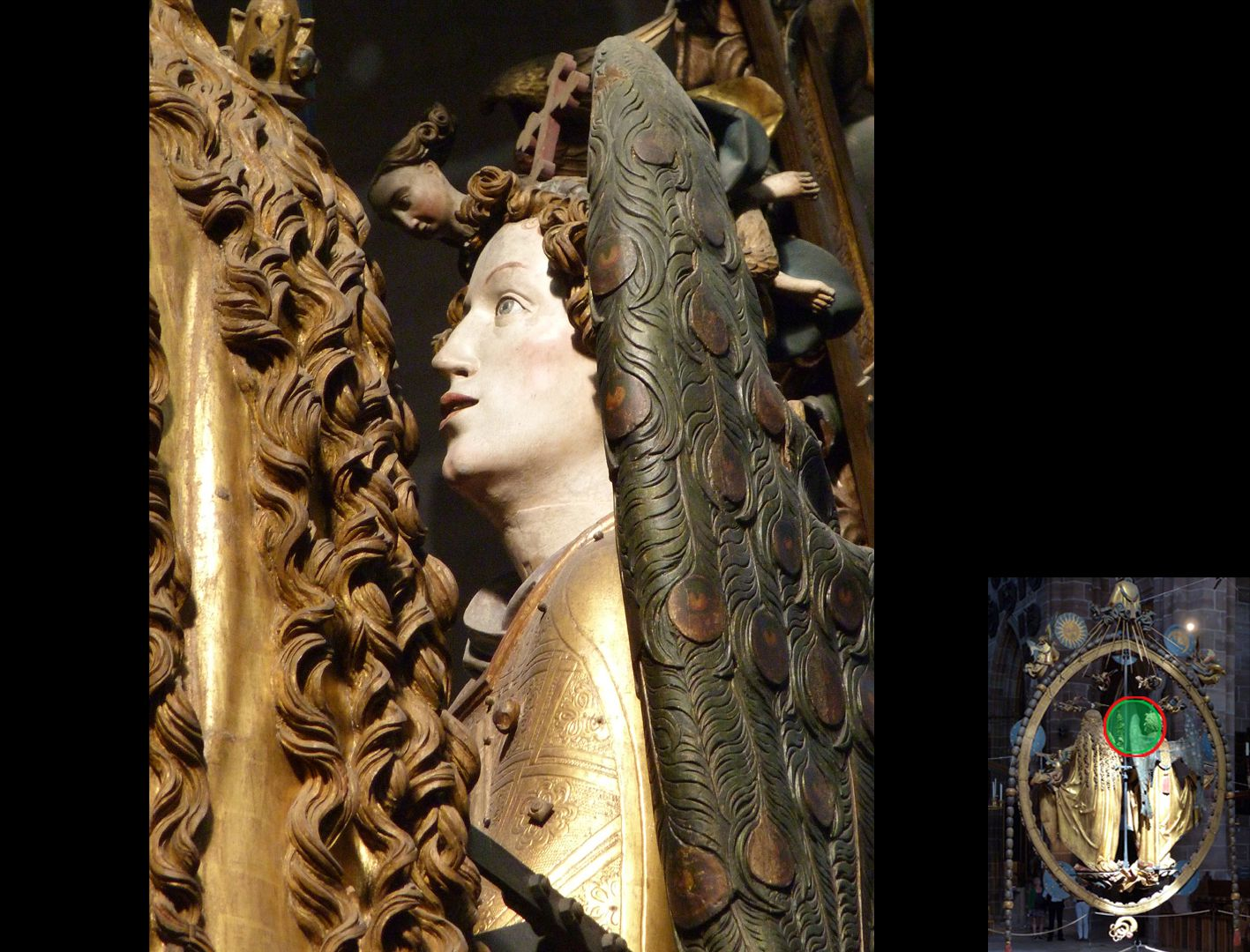 Angelic Salutation Hair strands of Mary and profile of Gabriel (highlight at the bottom right)