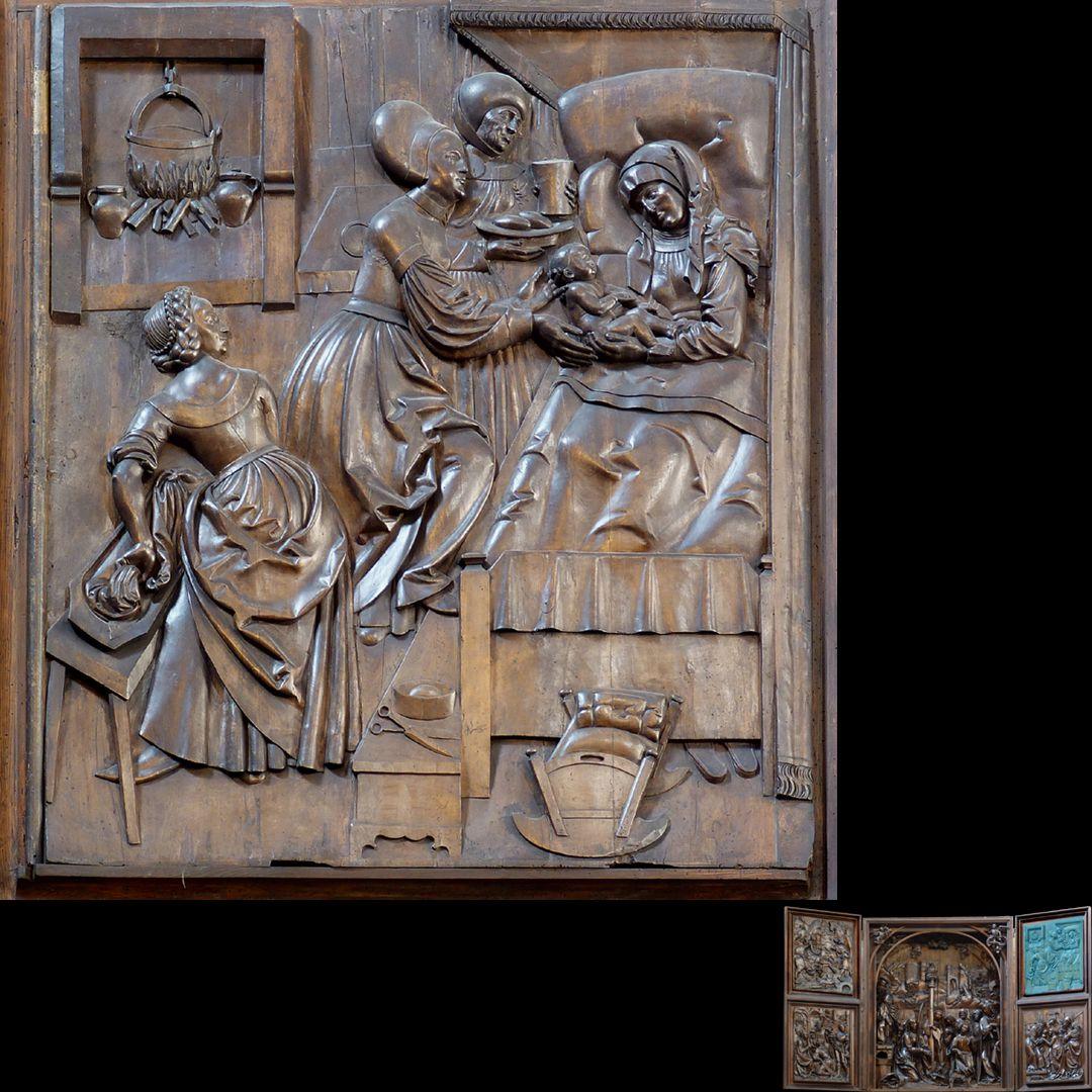 Marien-Altar rechter Flügel oben mit Relief der Geburt Mariä